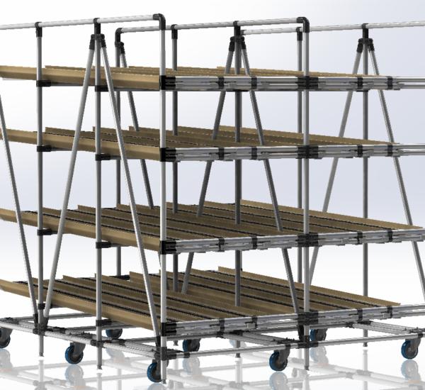 Scaffale con Rulliere a Gravità Lean Manufacturing