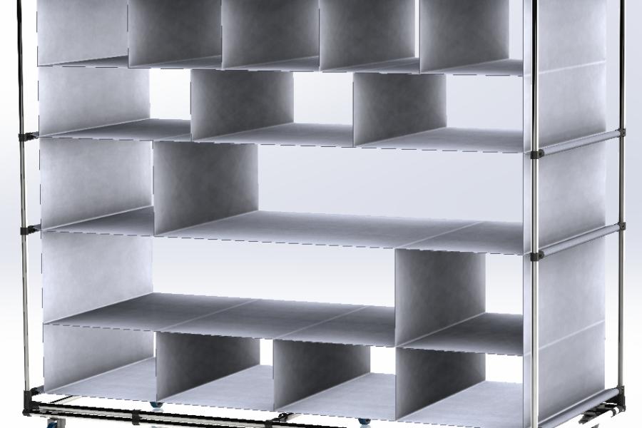 Carrello Lean Manufacturing con telo in PVC