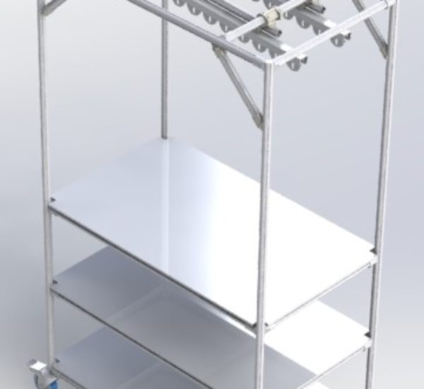 Lean Manufacturing trolley with rails