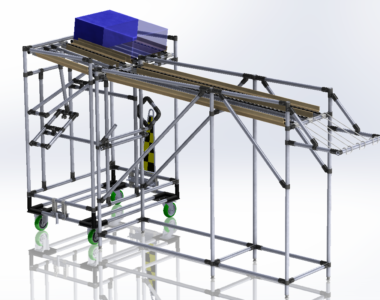 Lean Manufacturing loading and unloading workstation with roller conveyor
