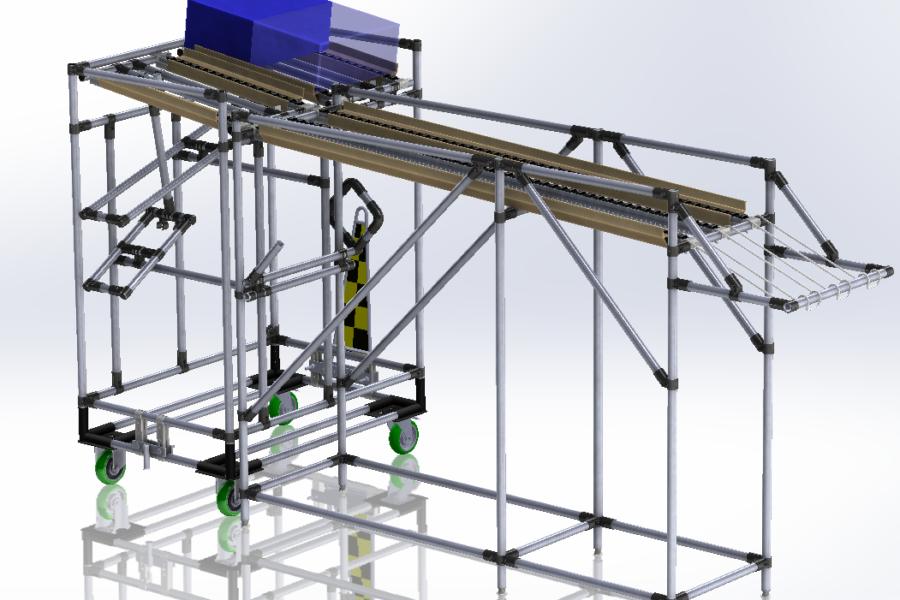 Postazione Lavoro di Carico Lean Manufacturing con rulliera